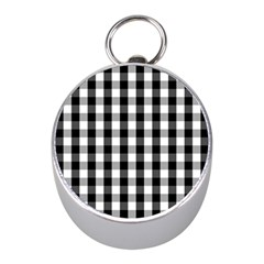 Large Black White Gingham Checked Square Pattern Mini Silver Compasses