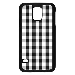 Large Black White Gingham Checked Square Pattern Samsung Galaxy S5 Case (Black)