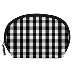 Large Black White Gingham Checked Square Pattern Accessory Pouches (Large)