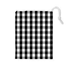 Large Black White Gingham Checked Square Pattern Drawstring Pouches (Large)