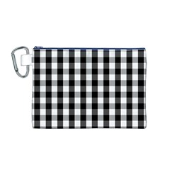 Large Black White Gingham Checked Square Pattern Canvas Cosmetic Bag (M)