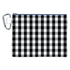 Large Black White Gingham Checked Square Pattern Canvas Cosmetic Bag (XXL)