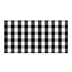 Large Black White Gingham Checked Square Pattern Satin Wrap