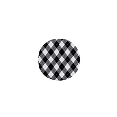 Argyll Diamond Weave Plaid Tartan in Black and White Pattern 1  Mini Buttons