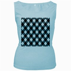 Argyll Diamond Weave Plaid Tartan in Black and White Pattern Women s Baby Blue Tank Top