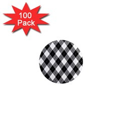 Argyll Diamond Weave Plaid Tartan in Black and White Pattern 1  Mini Magnets (100 pack)