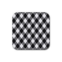 Argyll Diamond Weave Plaid Tartan in Black and White Pattern Rubber Coaster (Square)