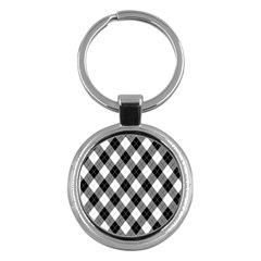 Argyll Diamond Weave Plaid Tartan in Black and White Pattern Key Chains (Round)