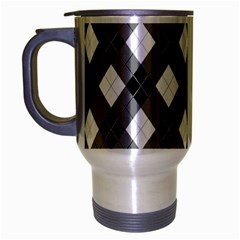 Argyll Diamond Weave Plaid Tartan in Black and White Pattern Travel Mug (Silver Gray)