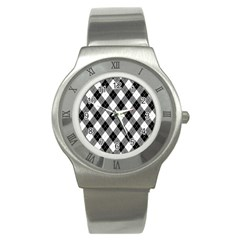 Argyll Diamond Weave Plaid Tartan in Black and White Pattern Stainless Steel Watch