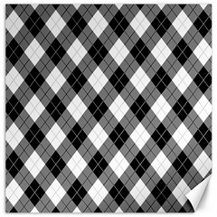 Argyll Diamond Weave Plaid Tartan in Black and White Pattern Canvas 16  x 16