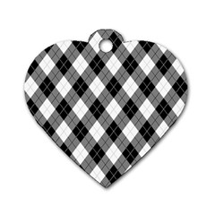 Argyll Diamond Weave Plaid Tartan in Black and White Pattern Dog Tag Heart (One Side)