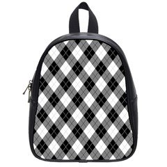 Argyll Diamond Weave Plaid Tartan in Black and White Pattern School Bags (Small)