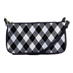 Argyll Diamond Weave Plaid Tartan in Black and White Pattern Shoulder Clutch Bags