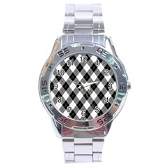 Argyll Diamond Weave Plaid Tartan in Black and White Pattern Stainless Steel Analogue Watch