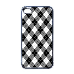 Argyll Diamond Weave Plaid Tartan in Black and White Pattern Apple iPhone 4 Case (Black)