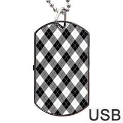 Argyll Diamond Weave Plaid Tartan in Black and White Pattern Dog Tag USB Flash (One Side)