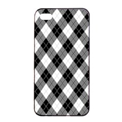 Argyll Diamond Weave Plaid Tartan in Black and White Pattern Apple iPhone 4/4s Seamless Case (Black)