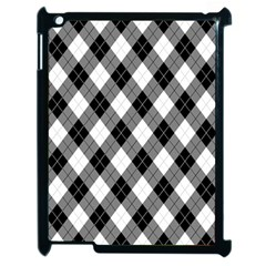 Argyll Diamond Weave Plaid Tartan in Black and White Pattern Apple iPad 2 Case (Black)