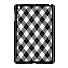 Argyll Diamond Weave Plaid Tartan in Black and White Pattern Apple iPad Mini Case (Black)