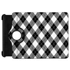 Argyll Diamond Weave Plaid Tartan in Black and White Pattern Kindle Fire HD 7