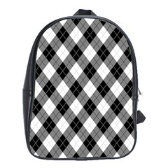 Argyll Diamond Weave Plaid Tartan in Black and White Pattern School Bags (XL)
