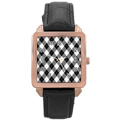 Argyll Diamond Weave Plaid Tartan in Black and White Pattern Rose Gold Leather Watch