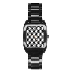 Argyll Diamond Weave Plaid Tartan in Black and White Pattern Stainless Steel Barrel Watch