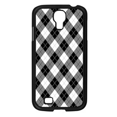 Argyll Diamond Weave Plaid Tartan in Black and White Pattern Samsung Galaxy S4 I9500/ I9505 Case (Black)
