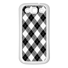 Argyll Diamond Weave Plaid Tartan in Black and White Pattern Samsung Galaxy S3 Back Case (White)