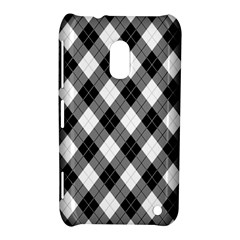 Argyll Diamond Weave Plaid Tartan in Black and White Pattern Nokia Lumia 620