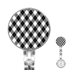 Argyll Diamond Weave Plaid Tartan in Black and White Pattern Stainless Steel Nurses Watch