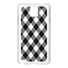 Argyll Diamond Weave Plaid Tartan in Black and White Pattern Samsung Galaxy Note 3 N9005 Case (White)