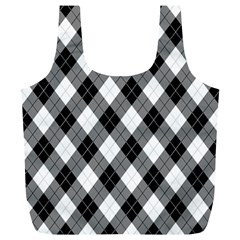 Argyll Diamond Weave Plaid Tartan in Black and White Pattern Full Print Recycle Bags (L)