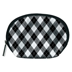 Argyll Diamond Weave Plaid Tartan in Black and White Pattern Accessory Pouches (Medium)