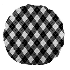 Argyll Diamond Weave Plaid Tartan in Black and White Pattern Large 18  Premium Flano Round Cushions