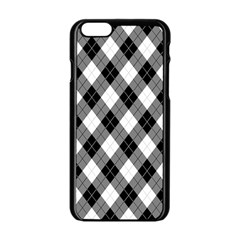 Argyll Diamond Weave Plaid Tartan in Black and White Pattern Apple iPhone 6/6S Black Enamel Case