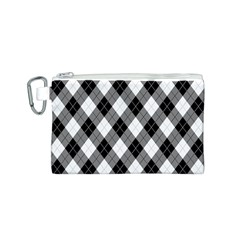 Argyll Diamond Weave Plaid Tartan in Black and White Pattern Canvas Cosmetic Bag (S)