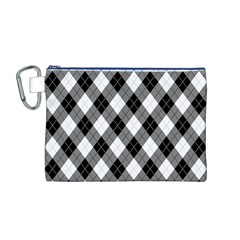 Argyll Diamond Weave Plaid Tartan in Black and White Pattern Canvas Cosmetic Bag (M)