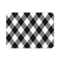 Argyll Diamond Weave Plaid Tartan in Black and White Pattern Double Sided Flano Blanket (Mini)