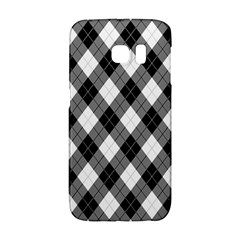 Argyll Diamond Weave Plaid Tartan in Black and White Pattern Galaxy S6 Edge
