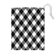 Argyll Diamond Weave Plaid Tartan in Black and White Pattern Drawstring Pouches (Extra Large)