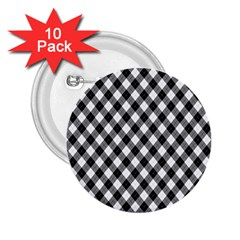 Argyll Diamond Weave Plaid Tartan In Black And White Pattern 2.25  Buttons (10 pack)