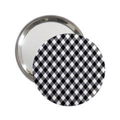 Argyll Diamond Weave Plaid Tartan In Black And White Pattern 2.25  Handbag Mirrors