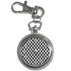 Argyll Diamond Weave Plaid Tartan In Black And White Pattern Key Chain Watches