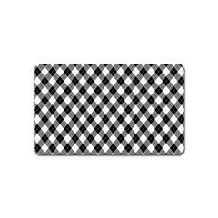 Argyll Diamond Weave Plaid Tartan In Black And White Pattern Magnet (Name Card)