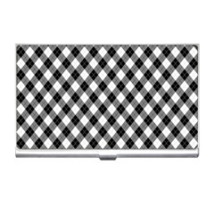 Argyll Diamond Weave Plaid Tartan In Black And White Pattern Business Card Holders