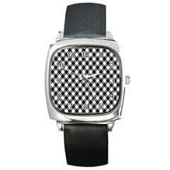 Argyll Diamond Weave Plaid Tartan In Black And White Pattern Square Metal Watch