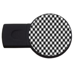 Argyll Diamond Weave Plaid Tartan In Black And White Pattern USB Flash Drive Round (4 GB)