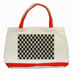 Argyll Diamond Weave Plaid Tartan In Black And White Pattern Classic Tote Bag (Red)